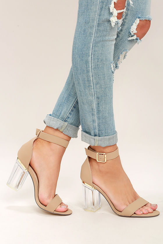 Chic Nude Heels - Lucite Heels - Block Heels - Vegan Leather Heels -  31.00
