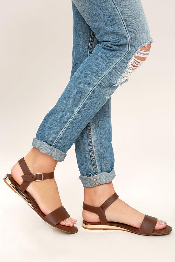 Tierney Cognac Wedge Sandals 1
