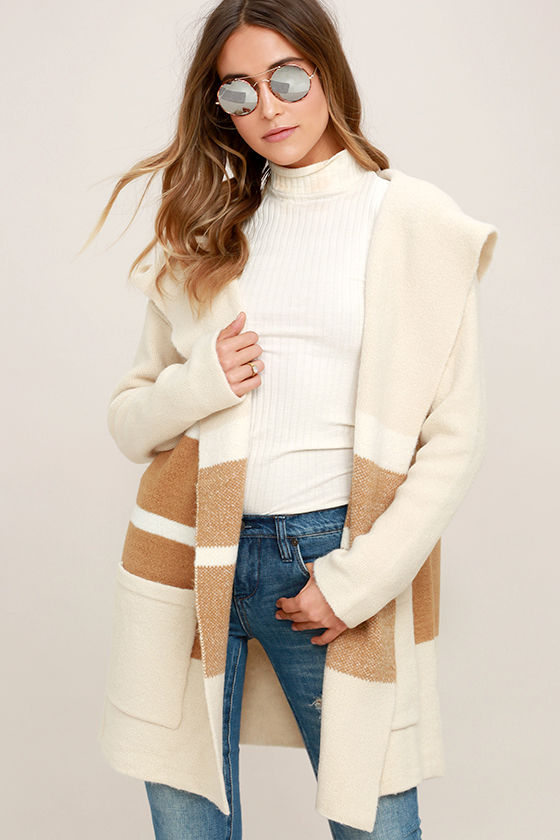 Carlsbad Tan and Beige Hooded Cardigan Sweater 1