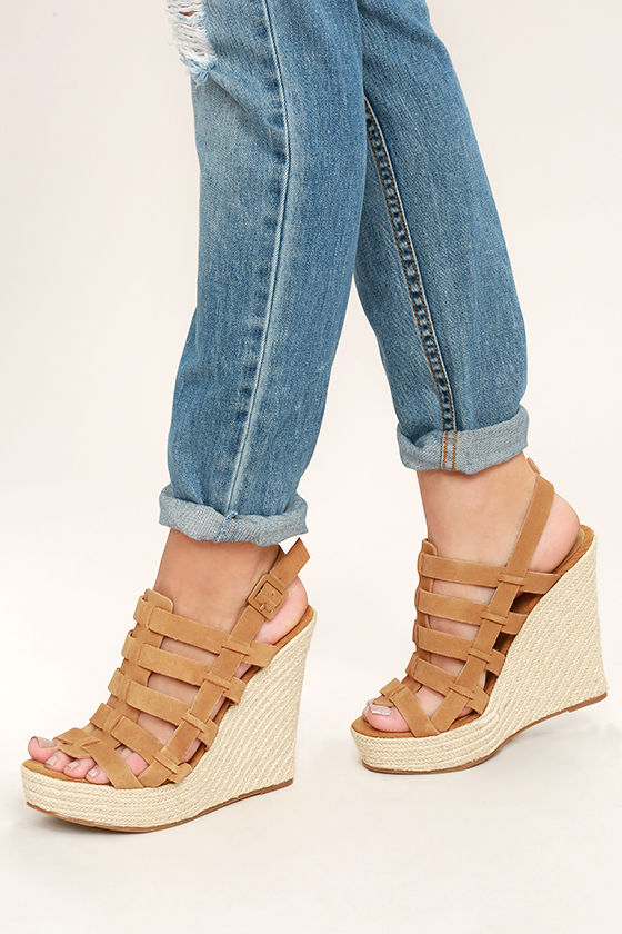 5b1af50c18 Chinese Laundry Dance Party Wedges - Tan Wedges - Leather Wedges -  Espadrille Wedges - $80.00