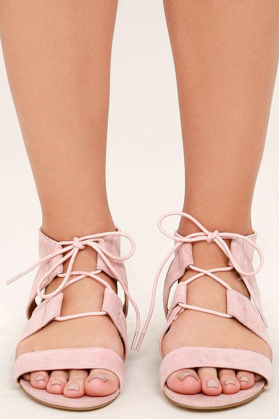 4ff12c580f9 Steve Madden August Sandals - Light Pink Sandals - Suede Leather ...
