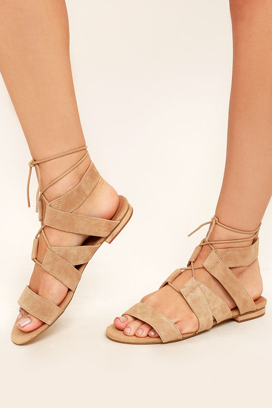 37839b96ead1 Steve Madden August Sandals - Tan Sandals - Suede Leather Sandals -  69.00