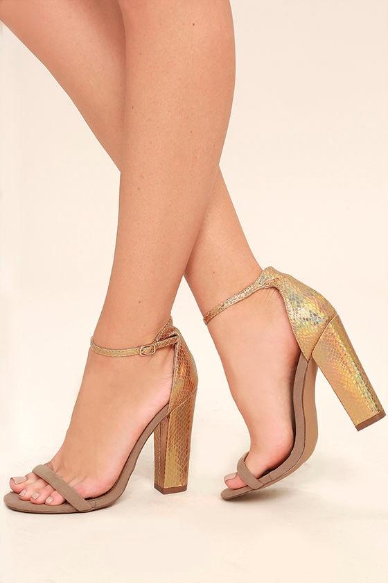 Cool Nude Heels - Ankle Strap Heels - Metallic Snakeskin Heels ...
