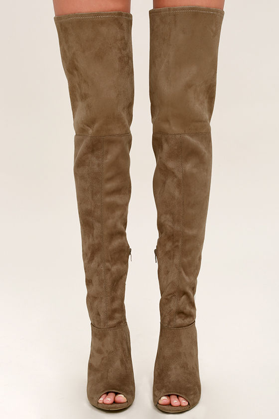 taupe thigh high boots peep toe thigh high boots