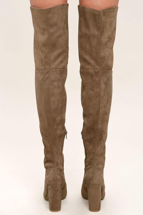 Sexy Taupe Thigh High Boots - Peep-Toe Thigh High Boots - $47.00