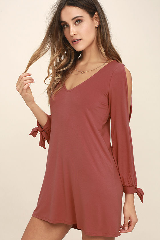 Cute Rusty Rose Dress - Shift Dress - Cold Shoulder Dress ...