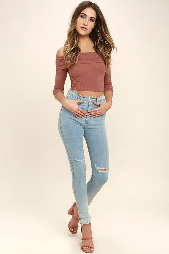 db850975e Cool Rusty Rose Top - Off-the-Shoulder Top - Long Sleeve Top - Crop ...