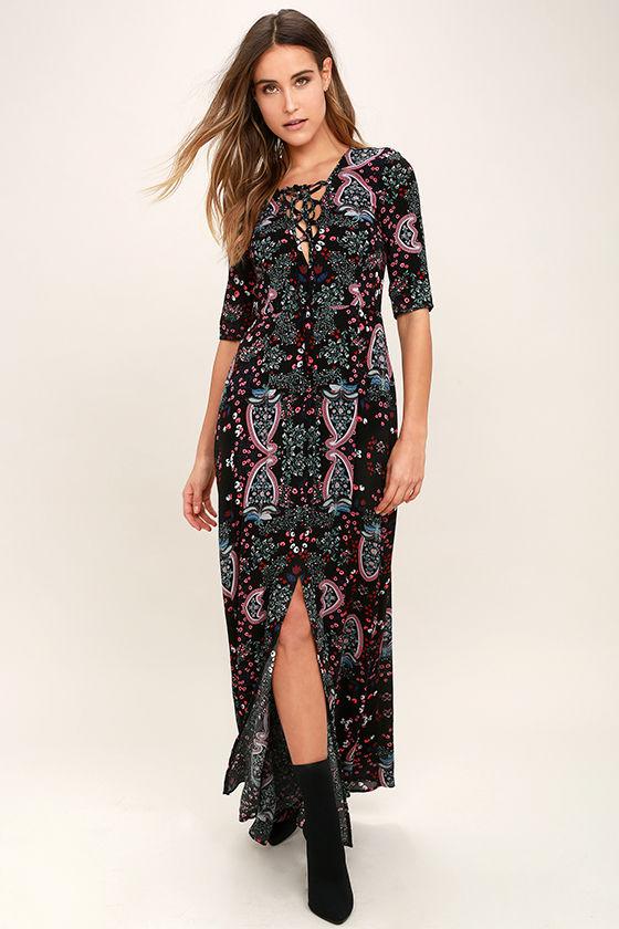 de7129d2099f Lovely Black Dress - Floral Print Dress - Maxi Dress - Lace-Up Dress -  $76.00