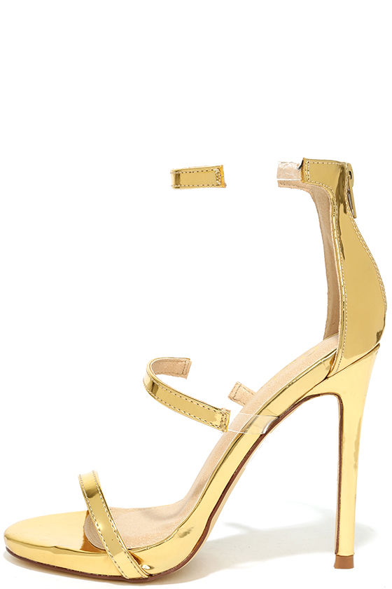 d7ded92c4e8 Chic Gold Heels - Nubuck Heels - High Heel Sandals - Lucite Heels ...