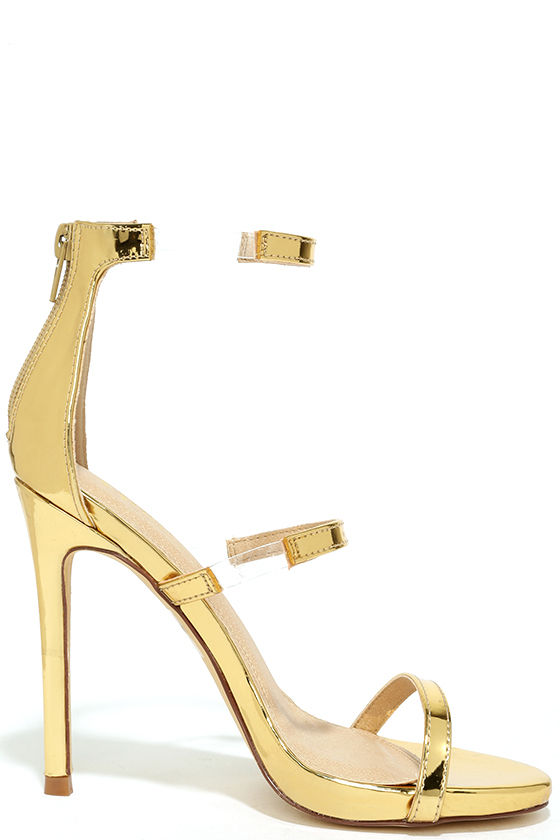 Chic Gold Heels - Nubuck Heels - High Heel Sandals - Lucite Heels ...