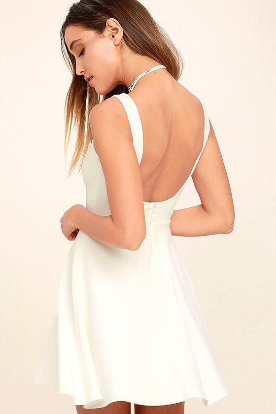 Cute White Dress - Skater Dress - LWD - Backless Dress - $44.00