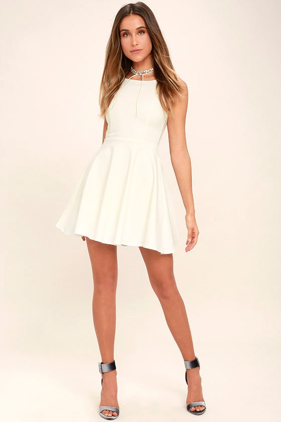 Cute White Dress - Skater Dress - LWD - Backless Dress - $44.00