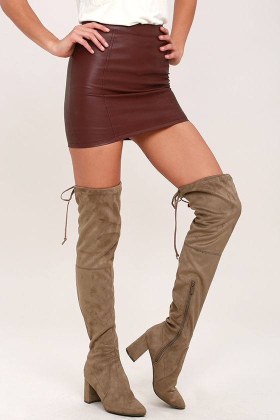 Chic Taupe Suede Boots - Over the Knee Boots - Vegan Suede Boots ...