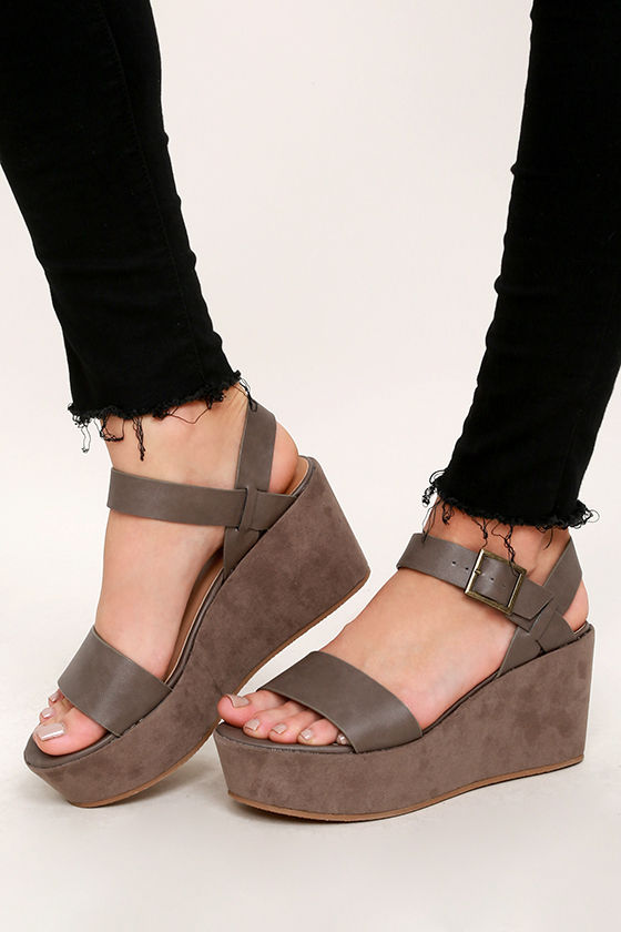 Platform33 Cute Suede 00 Taupe Wedges Vegan fb67gy