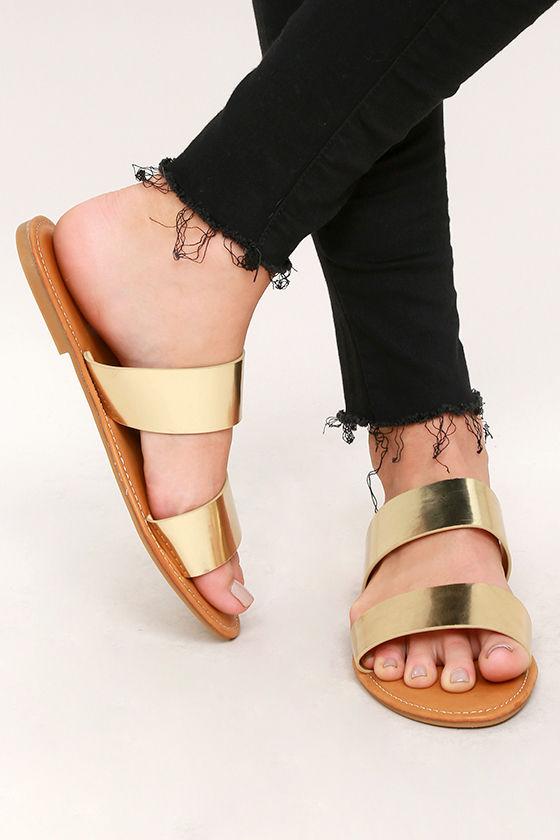 919a57419fd8 Cute Gold Slide Sandals - Vegan Leather Slide Sandals - Metallic Sandals -   14.00