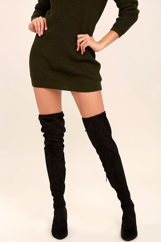 5d79357ec7ac Chic Black Suede Boots - Over the Knee Boots - Vegan Suede Boots - $49.00