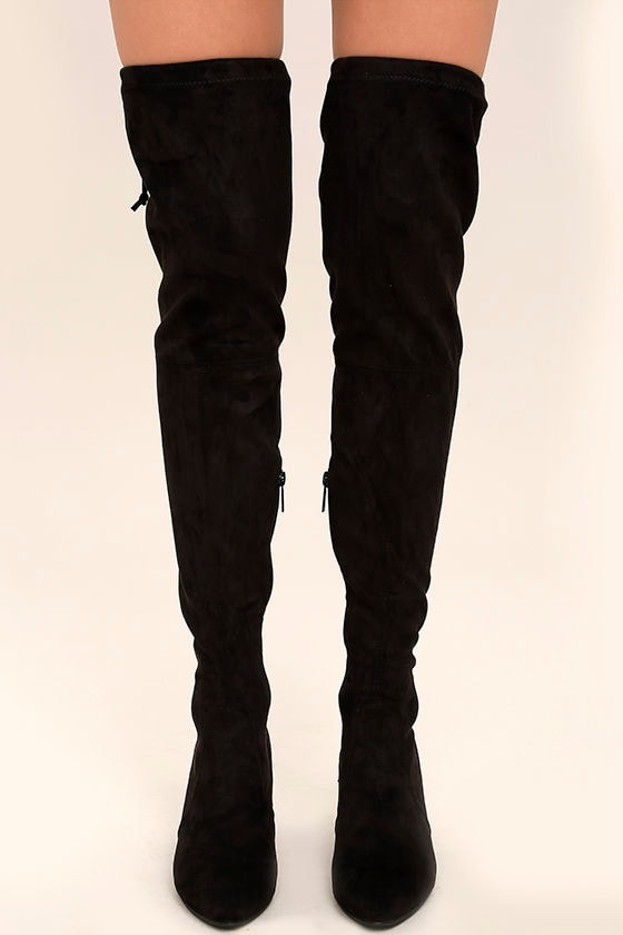 f9097259d85e Chic Black Suede Boots - Over the Knee Boots - Vegan Suede Boots ...