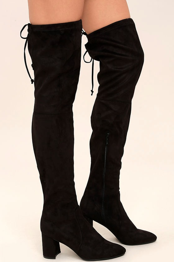 Chic Black Suede Boots - Over the Knee Boots - Vegan Suede Boots ...
