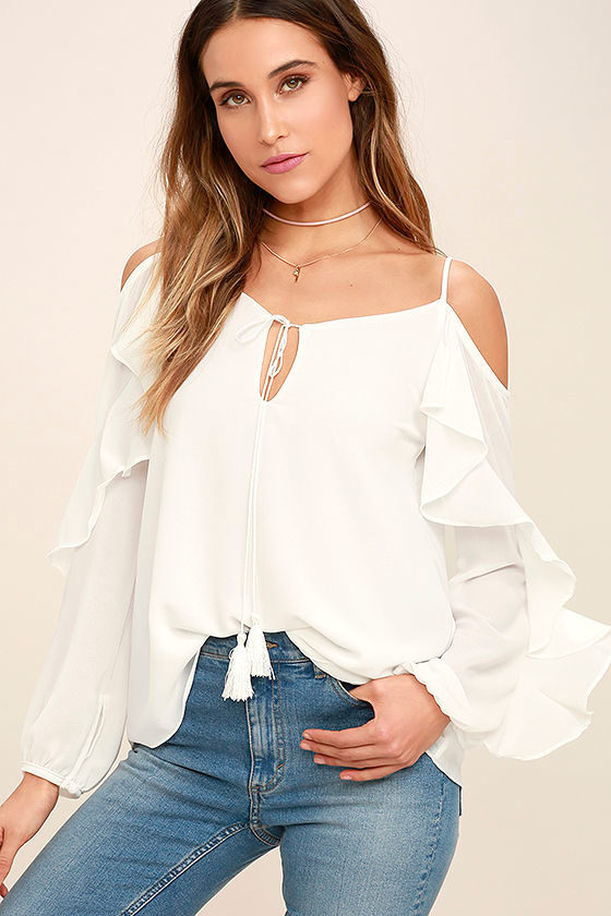 3d69d579161 Cute White Top - Off-The-Shoulder Top - Ruffled Top - $44.00