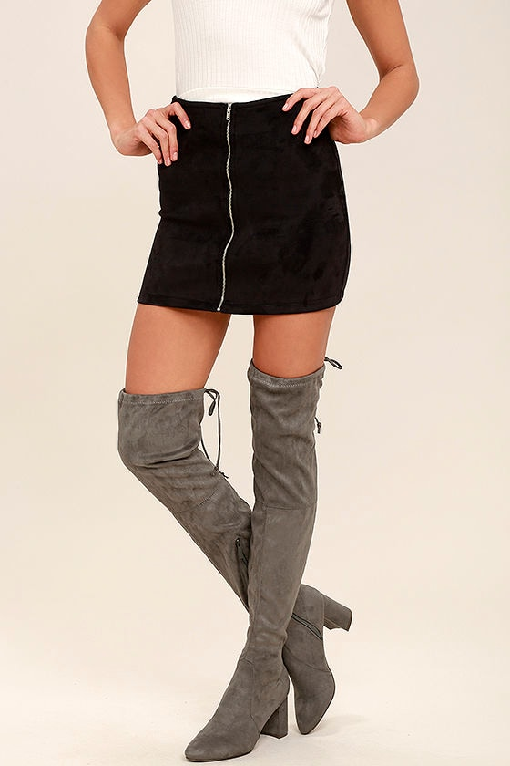 abe8bd9d5c2b Chic Grey Suede Boots - Over the Knee Boots - Vegan Suede Boots - $49.00