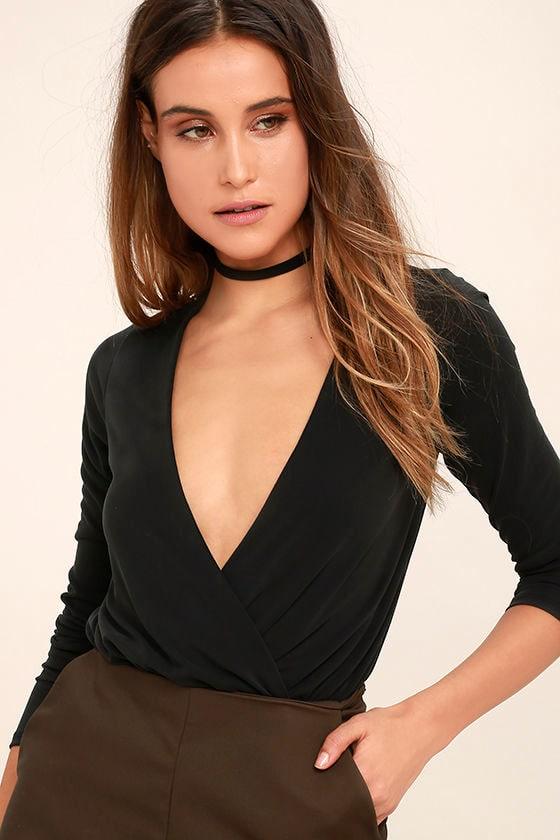 Striking Looks Washed Black Long Sleeve Bodysuit 1