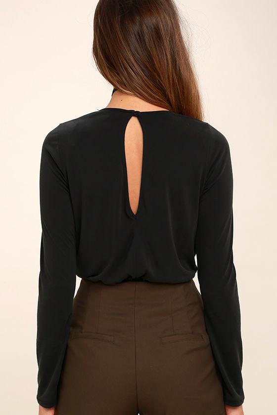 Striking Looks Washed Black Long Sleeve Bodysuit 5