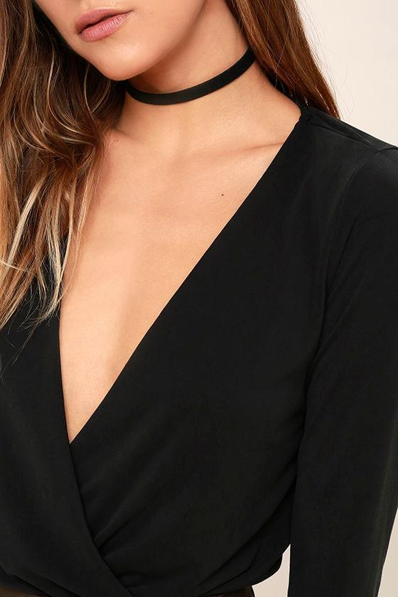 Striking Looks Washed Black Long Sleeve Bodysuit 6