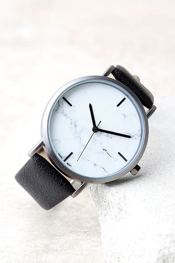 Clock Out White and Black Marble Watch 1