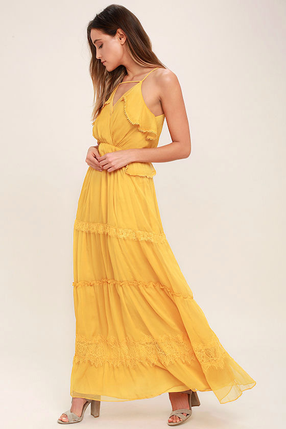 Lovely Golden Yellow Dress - Lace Dress - Maxi Dress - $117.00