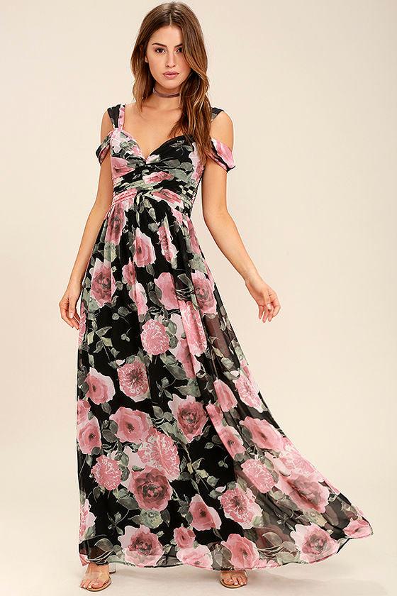 299818ade5 Beautiful Floral Print Maxi Dress - Black and Pink Floral Print ...