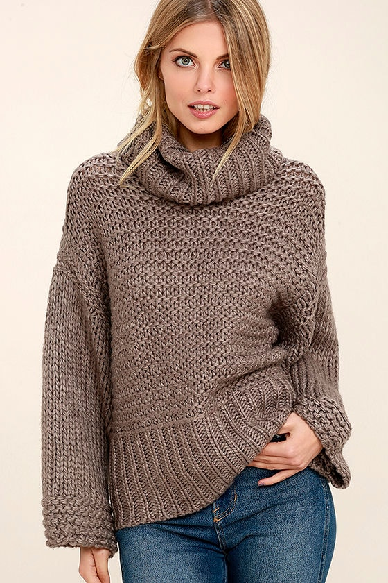 Cozy Dark Taupe Sweater Cropped Sweater Cable Knit Sweater 6400