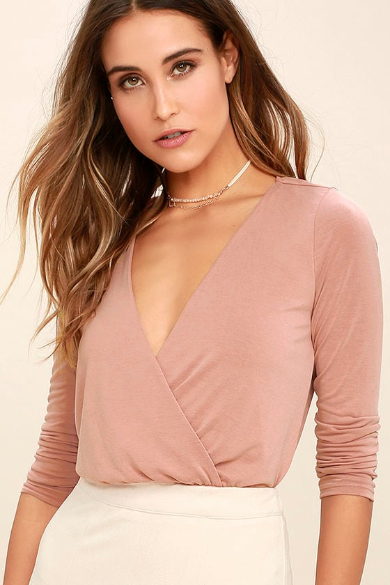 4c31e1d8a1c2 Sexy Blush Pink Bodysuit - Long Sleeve Bodysuit - Surplice Bodysuit - $36.00