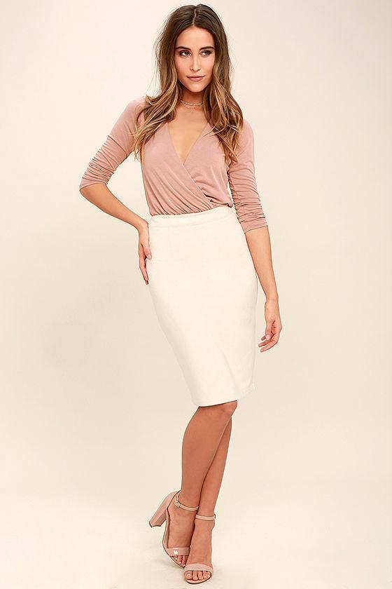 d806a16283 Sexy Blush Pink Bodysuit - Long Sleeve Bodysuit - Surplice Bodysuit ...