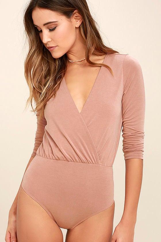Striking Looks Blush Pink Long Sleeve Bodysuit 3