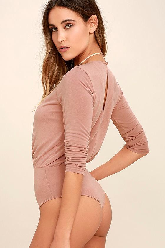 Striking Looks Blush Pink Long Sleeve Bodysuit 4