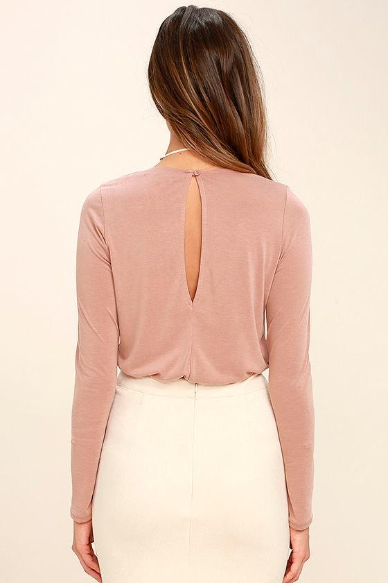 Striking Looks Blush Pink Long Sleeve Bodysuit 5