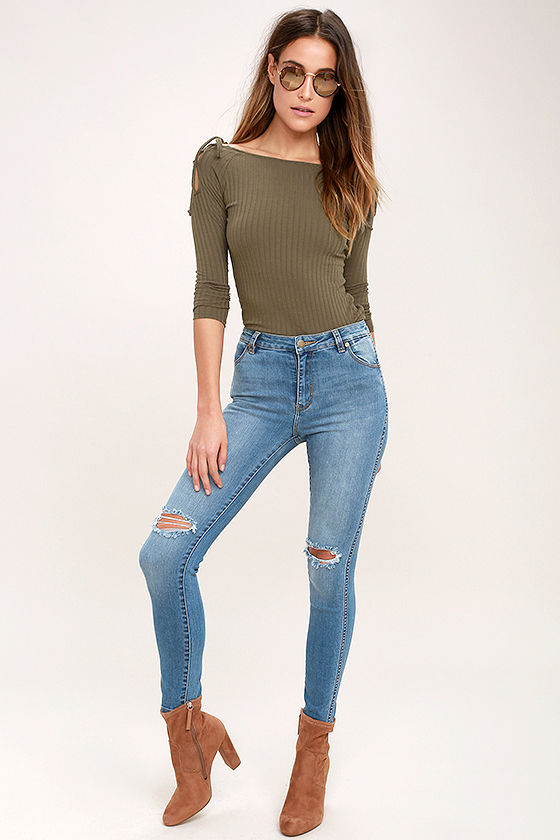b830582e1e20e1 Cool Olive Green Top - Long Sleeve Top - Cold Shoulder Top - Lace-Up ...