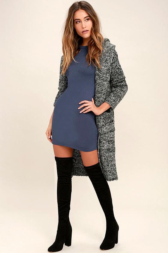 Hey Good Lookin' Short Sleeve Slate Blue Dress 2