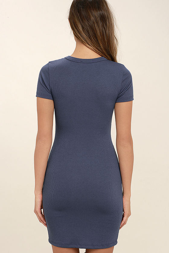 Hey Good Lookin' Short Sleeve Slate Blue Dress 4