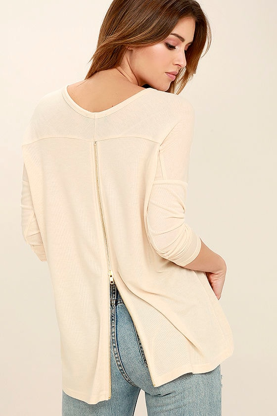 Zip to My Lou Light Beige Sweater Top 1