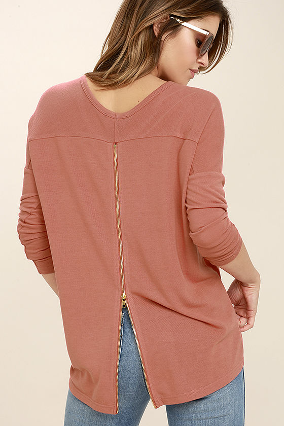 Zip to My Lou Rusty Rose Sweater Top 1
