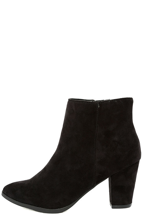 Ryleigh Black Suede Ankle Booties 1