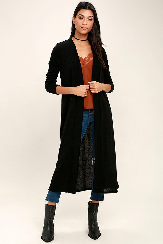 Chic Black Cardigan - Long Cardigan Sweater - Open Front Cardigan ...