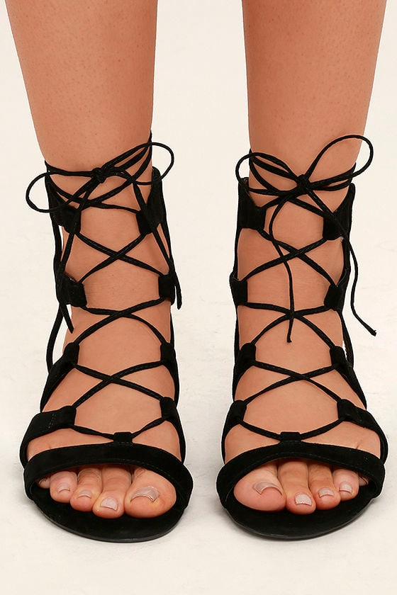 best place top design famous brand Steve Madden Chely Sandals - Black Suede Leather Sandals - Lace-Up ...