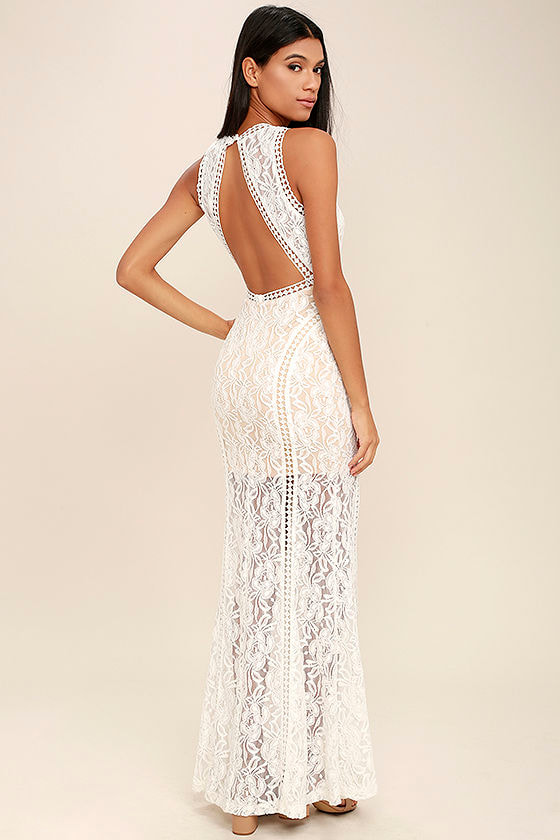 Lovely Ivory Dress - Lace Dress - Maxi Dress - Backless Maxi - $84.00