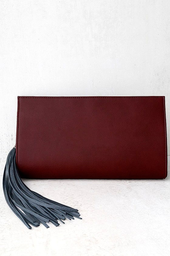 No Problem Burgundy Clutch 1