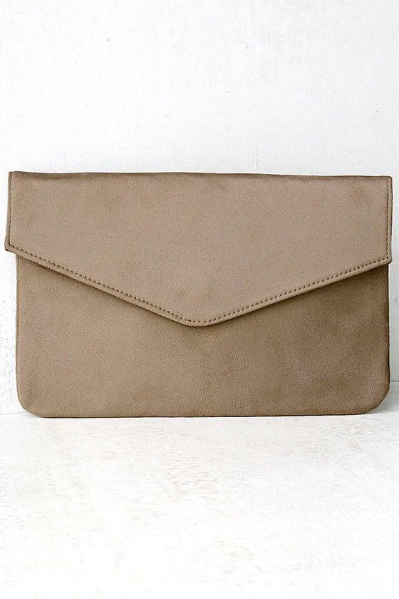 ba3a93820948a Chic Taupe Clutch - Vegan Suede Clutch - Envelope Clutch -  23.00