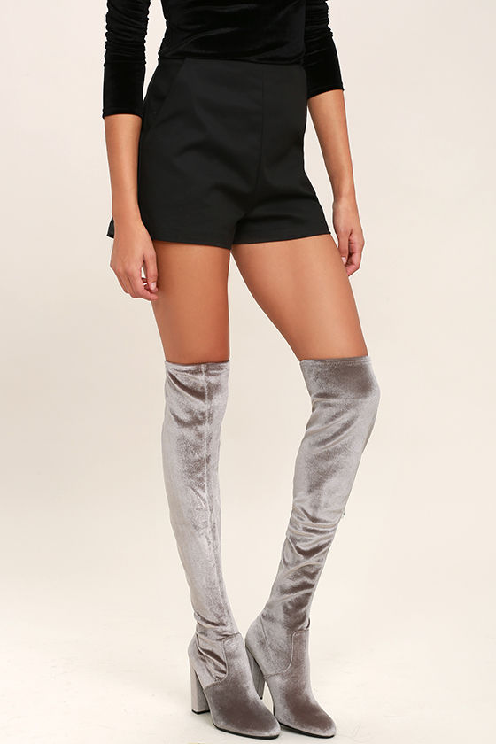 Steve Madden Emotionv - Grey Velvet Boots - Over the Knee Boots