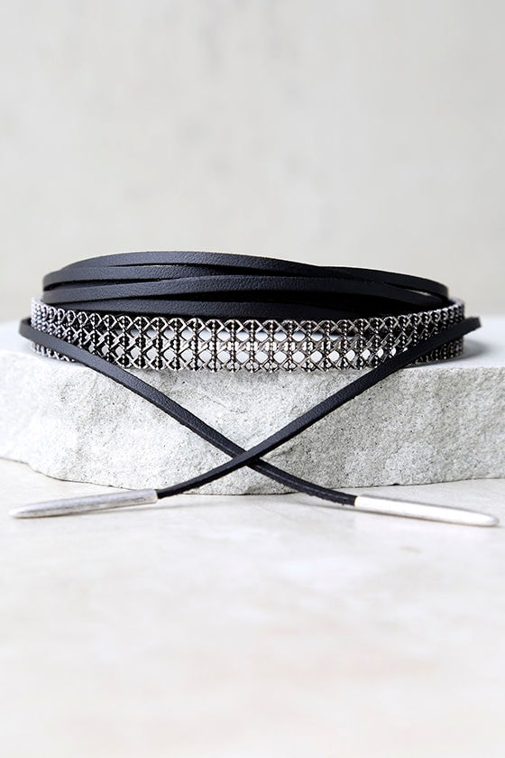 Haute Hardware Black and Silver Wrap Necklace 2