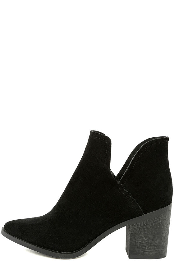 Ezra Black Suede Ankle Booties 1